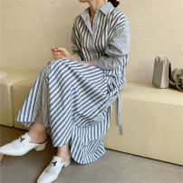 Dress Autumn 2020 stripe S M L XL longuette singleton  Long sleeves commute Polo collar Loose waist stripe Single breasted A-line skirt routine 25-29 years old Enchantment of imperial concubines Korean version Bow pocket with lace up buttons at waist F194 More than 95% cotton Cotton 100%