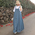 Dress Summer of 2019 blue S M L XL longuette singleton  Sleeveless commute One word collar Loose waist Solid color Single breasted A-line skirt straps 25-29 years old Enchantment of imperial concubines Korean version Ruffle strap button Y277 More than 95% polyester fiber Polyester 100%