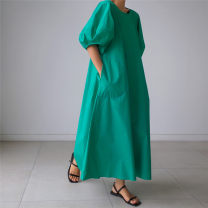 Dress Summer 2020 Green black white S M L XL longuette singleton  commute Crew neck Loose waist Decor A-line skirt bishop sleeve 25-29 years old Enchantment of imperial concubines Korean version pocket F148 More than 95% cotton Cotton 100% Pure e-commerce (online only)