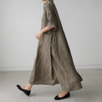 Dress Summer 2020 S M L XL longuette singleton  Long sleeves commute V-neck Loose waist Solid color Socket A-line skirt routine 25-29 years old Enchantment of imperial concubines Pocket button 31% (inclusive) - 50% (inclusive) cotton Cotton 50% LINEN 50% Pure e-commerce (online only)
