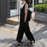 Casual pants Black Navy beige S M L XL Fall 2017 Ninth pants Wide leg pants High waist commute routine HAO63 Enchantment of imperial concubines Korean version pocket Cotton 35% flax 35% polyester 30% Pure e-commerce (online only)