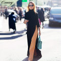 Dress Autumn of 2018 black XL,2XL,3XL,L,M longuette singleton  three quarter sleeve commute High collar middle-waisted Solid color Socket Irregular skirt routine Others 25-29 years old Other / other 71% (inclusive) - 80% (inclusive) other polyester fiber