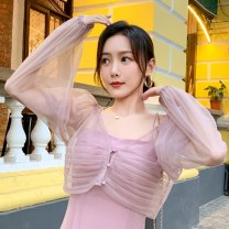 Lace / Chiffon Summer 2020 Pink yellow S M L XL Long sleeves Versatile Cardigan singleton  Straight cylinder have cash less than that is registered in the accounts other Solid color routine 18-24 years old Imongssan / yimengshang XYMS516 Other 100% Pure e-commerce (online only)