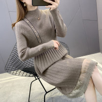 sweater Winter 2020 S M L XL Blue grey camel black Long sleeves Socket singleton  Medium length other 95% and above Half high collar Regular commute routine Solid color Straight cylinder Regular wool Keep warm and warm 25-29 years old Imongssan / yimengshang 59YMSXX5960 Stitching buttons Other 100%