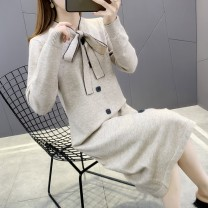 sweater Winter 2020 S M L XL Khaki black Long sleeves Socket singleton  Medium length other 95% and above Crew neck Regular commute routine Solid color Straight cylinder Regular wool Keep warm and warm 25-29 years old Imongssan / yimengshang 59YMSXX6200 Lace up button Other 100%