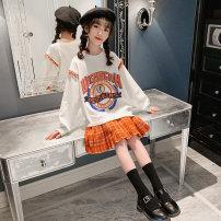 Dress White - off the shelf female nainsect 120cm 130cm 140cm 150cm 160cm Cotton 100% spring and autumn Korean version Long sleeves Cartoon animation cotton Pleats CZ-21-0009 Class B Spring 2021