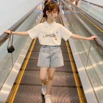 suit nainsect White T-shirt + denim shorts 120cm 130cm 140cm 150cm 160cm 170cm female summer Korean version 2 pieces routine There are models in the real shooting Socket nothing Cartoon animation cotton children Expression of love Class B Cotton 100% Summer 2021