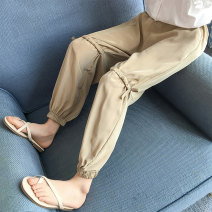 trousers AI shangniu female 110cm 120cm 130cm 140cm 150cm 160cm Khaki [loose, please don't make it big] black [loose, please don't make it big] summer trousers Korean version There are models in the real shooting Casual pants Leather belt middle-waisted Don't open the crotch Polyester 100% XKZ11269