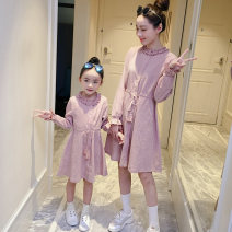 Parent child fashion Pink Women's dress female AI shangniu QQZ6240-AA spring and autumn Korean version routine Solid color skirt cotton QQZ6240-AA Cotton 100% Class B Autumn of 2019 Chinese Mainland