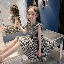 Dress female AI shangniu 110cm 120cm 130cm 140cm 150cm 160cm 165cm 170cm Cotton 100% summer Korean version Short sleeve lattice cotton A-line skirt Class B Summer 2020 Chinese Mainland Zhejiang Province Shaoxing