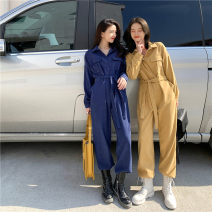 Jumpsuit / pants 96% and above trousers polyester fiber High waist commute Ginger blue Average size routine Spring 2021 Wide leg pants Snow cotton flower Pure e-commerce (online only)