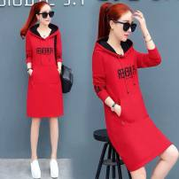 Dress Winter of 2019 Black red Caramel M L XL XXL XXXL Mid length dress singleton  Long sleeves commute Hood Loose waist letter Socket One pace skirt other Others 18-24 years old Yiyaqing Korean version More than 95% polyester fiber Other polyester 95% 5%