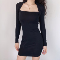 Dress Winter 2020 Black, gray S,M,L Short skirt singleton  Long sleeves street square neck High waist Solid color Socket One pace skirt routine 18-24 years old Type H 31% (inclusive) - 50% (inclusive) cotton Europe and America