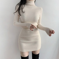 Dress Winter 2020 White, black S,M,L Short skirt singleton  Long sleeves street High collar High waist Solid color Socket One pace skirt routine 18-24 years old Type H Tiaoheng WKD7655W0I 51% (inclusive) - 70% (inclusive) polyester fiber Europe and America
