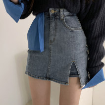 skirt Summer 2021 S,M,L,XL Blue, light blue, black Short skirt street High waist Denim skirt Type A 18-24 years old WKD0860W0C 91% (inclusive) - 95% (inclusive) Denim cotton Make old, splice Europe and America