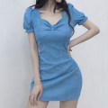 Dress Summer 2020 S,M,L,XL Short skirt singleton  Short sleeve street V-neck High waist Solid color zipper A-line skirt puff sleeve Others 18-24 years old Type A bow More than 95% corduroy polyester fiber Europe and America