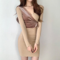 Dress Winter 2020 khaki S,M,L Mid length dress singleton  Long sleeves street V-neck High waist A-line skirt routine 18-24 years old Type H WKMLD00959 More than 95% cotton Europe and America