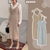 Dress Autumn 2020 Khaki, light grey blue S,M,L,XL Mid length dress singleton  commute V-neck High waist Solid color zipper A-line skirt straps 18-24 years old Type A Retro zipper