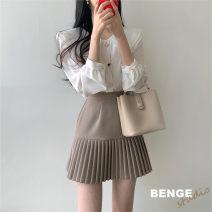 Fashion suit Autumn 2020 S,M,L,XL Khaki Skirt, black skirt, white shirt, pink shirt