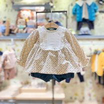 suit moimoln 80 for about 65cm, 90 for about 75cm, 100 for about 85CM, 110 for about 95cm female spring and autumn Korean version Long sleeve + pants 2 pieces routine No model Socket nothing other cotton children Expression of love Class B Cotton 100%