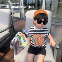 T-shirt Black, apricot, gray, green, blue, black and white stripes, black, apricot, gray, green, blue, black and white stripes LINLINMA 80cm, 100cm, 110cm, 120cm, 130cm, 140cm, 90cm (ugly size) male summer Short sleeve Crew neck Korean version There are models in the real shooting nothing cotton