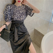 shirt Leopard Print Top Skirt S M L Summer 2021 other 96% and above Short sleeve commute Regular Crew neck Socket routine Leopard Print 18-24 years old Lovely beauty Korean version 1173# Other 100% Pure e-commerce (online only)