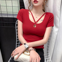 T-shirt Red white black S M L XL 2XL Summer 2020 Short sleeve square neck Self cultivation have cash less than that is registered in the accounts routine commute other 96% and above Korean version classic Solid color Lovely beauty Other 100%