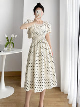 Dress Summer 2021 White black S M L XL longuette singleton  Short sleeve commute square neck High waist Dot Socket A-line skirt routine 25-29 years old Type A Teilwenl / Tiki Retro printing More than 95% other Other 100% Pure e-commerce (online only)