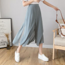 Casual pants Grey blue black white S M L XL Summer 2021 Ninth pants Wide leg pants High waist commute Thin money TWX34566S-DY Teilwenl / Tiki Retro pocket Other 100% Pure e-commerce (online only)
