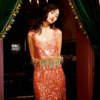 skirt Summer 2020 XS S M L Tangerine Mid length dress Versatile Natural waist 25-29 years old LF20X11S10R031 More than 95% LE FAME nylon Polyamide fiber (nylon) 100% Same model in shopping mall (sold online and offline)