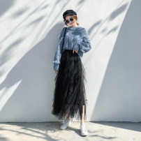 skirt Summer of 2019 One size 80-135 can wear Mid length dress commute High waist Cake skirt Solid color Type A 18-24 years old LLH201800513 More than 95% Chiffon Love flowers other Lace with flounce and mesh Korean version Other 100% Pure e-commerce (online only)