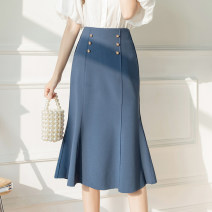 skirt Spring 2021 S M L XL Blue black Mid length dress commute High waist A-line skirt Solid color Type A 25-29 years old LLH111222235 More than 95% other Love flowers other Button panel Korean version Other 100% Pure e-commerce (online only)