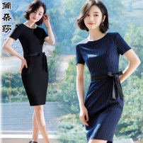 Dress Spring of 2018 S M L XL 2XL 3XL 4XL Mid length dress singleton  Short sleeve commute Crew neck middle-waisted stripe zipper One pace skirt routine Others 25-29 years old Type X Jandorsa Ol style Bow zipper 81% (inclusive) - 90% (inclusive) polyester fiber Pure e-commerce (online only)