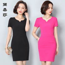Dress Summer of 2019 Black dress Rose Dress S M L XL 2XL 3XL 4XL Mid length dress singleton  Short sleeve commute V-neck middle-waisted Solid color zipper A-line skirt routine 25-29 years old Jandorsa Ol style JDS1869 More than 95% polyester fiber Polyester fiber 95% polyvinyl chloride (PVC) 5%