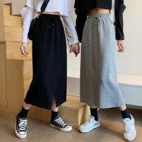skirt Summer 2020 M L XL Black grey Mid length dress commute High waist skirt Solid color Type A 18-24 years old 71% (inclusive) - 80% (inclusive) Emperor rhyme polyester fiber Korean version Polyester 75% cotton 25% Pure e-commerce (online only)