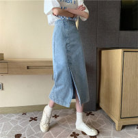 skirt Spring 2021 S M L Denim blue Mid length dress commute High waist A-line skirt Solid color Type A 18-24 years old jt2427 More than 95% Emperor rhyme polyester fiber Korean version Polyester 100% Exclusive payment of tmall