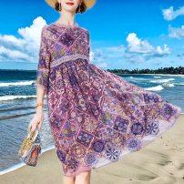 Dress Summer 2020 violet M,L,XL,2XL,3XL Mid length dress Two piece set elbow sleeve Crew neck Loose waist Big swing routine