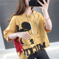 T-shirt Pink yellow white green blue S M L XL Summer 2020 Short sleeve Hood easy Regular routine commute other 96% and above 25-29 years old Korean version Beautiful clothes YSM/96* Other 100% Pure e-commerce (online only)