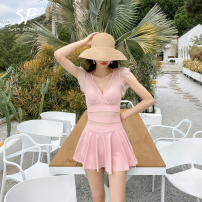 one piece  Spandex, polyester Solid color Sleeveless female Casual swimsuit Steel strap breast pad Hotfashion Skirt one piece N2209 Hollowing out M,L,XL,XXL White, black, pink