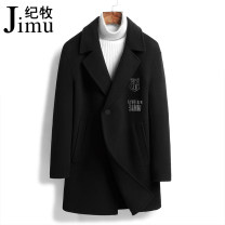 woolen coat black 165/M 170/L 175/XL 180/2XL 185/3XL 190/4XL Ji Mu Business gentleman JM-SMN8978 Wool 100% Woolen cloth Autumn 2020 Medium length Other leisure Self cultivation Pure e-commerce (online only) youth tailored collar Single breasted Business Casual Solid color Cloth hem Side seam pocket