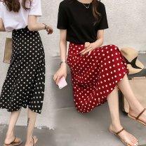 Square dance skirt Red (926), white (926), black (926) S,M,L,XL longuette High waist Dot Splicing Other