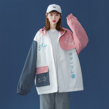 short coat Spring 2021 S M L XL 2XL 3XL Pink Blue Long sleeves routine routine singleton  easy Versatile routine Crew neck zipper shape 18-24 years old Teng Yiman 96% and above Zipper patch cotton Cotton 100% Pure e-commerce (online only)