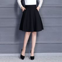skirt Spring of 2018 M for 80 to 100 kg, l for 100 to 120 kg, XL for 120 to 140 kg, 2XL for 140 to 180 kg Black, red Mid length dress Versatile Natural waist A-line skirt Solid color Type A 18-24 years old XLY-508 other Other / other pocket