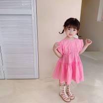 Dress Pink female Sauter bear 80cm,90cm,100cm,110cm,120cm,130cm Cotton 100% summer Korean version Short sleeve Solid color cotton A-line skirt Class B 12 months, 18 months, 2 years old, 3 years old, 4 years old, 5 years old, 6 years old, 7 years old Chinese Mainland Zhejiang Province Hangzhou