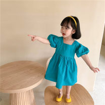 Dress Rose red, blue green, Avocado Green female Sauter bear 80cm,90cm,100cm,110cm,120cm,130cm Cotton 100% summer leisure time Short sleeve Solid color cotton A-line skirt BLMH33EED Class B 12 months, 18 months, 2 years old, 3 years old, 4 years old, 5 years old, 6 years old, 7 years old, 8 years old