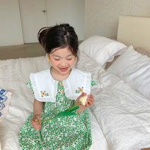 Dress Light green female 80cm,90cm,100cm,110cm,120cm,130cm Cotton 95% polyurethane elastic fiber (spandex) 5% summer Korean version Short sleeve Broken flowers cotton A-line skirt Class B 12 months, 18 months, 2 years old, 3 years old, 4 years old, 5 years old, 6 years old, 7 years old, 8 years old