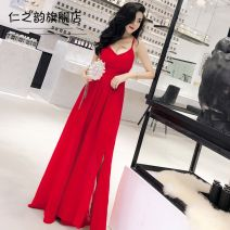 Dress Spring of 2019 Red and black Average size longuette singleton  Sleeveless Sweet V-neck High waist Solid color Big swing camisole 18-24 years old Type A The charm of benevolence backless 9748d637-e579-48d8-a176-b97c19ccb9cb More than 95% Chiffon other Triacetate fiber (triacetate fiber) 100%