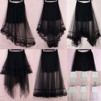 skirt Summer 2017 Average size longuette commute Natural waist Irregular Solid color Type A 18-24 years old BBB More than 95% Lace The charm of benevolence other Lace Korean version Triacetate fiber (triacetate fiber) 100% Same model in shopping mall (sold online and offline)
