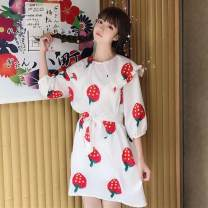 Dress Summer of 2019 Strawberry dress Average size longuette singleton  three quarter sleeve Sweet Doll Collar Loose waist Cartoon animation Socket Cake skirt Flying sleeve straps 18-24 years old The charm of benevolence bow More than 95% Chiffon other Triacetate fiber (triacetate fiber) 100%