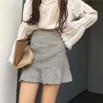 skirt Spring of 2018 S M L Black and white Short skirt Versatile High waist Ruffle Skirt lattice Type A 18-24 years old F698 More than 95% corduroy The charm of benevolence other bow Triacetate fiber (triacetate fiber) 100% Same model in shopping mall (sold online and offline)